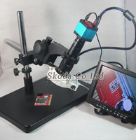 HD 14MP Industrial Microscope Camera HDMI USB output 180/300X C mount Lens LED Light 8 LCD Monitor Universal Rotate bracket