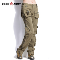 FREEARMY Plus Size Womens Pants Casual Khaki Mid Waist Cargo Pants Military Ladies Pockets Pants Couple's Outdoors Trousers