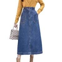 2019 Spring Autumn Maxi Long Denim Skirts Womens Plus Size 3XL Jeans Skirt High Waist A line Midi Party Skirt Falda Mujer D804