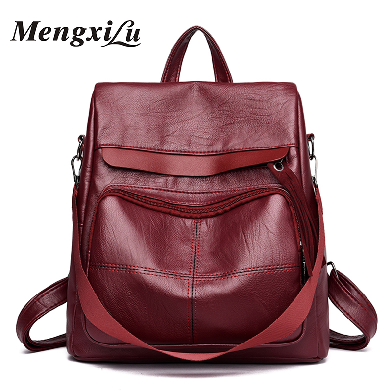 MENGXILU Brand Soft High Quality PU Leather Backpack Women Luxury School Bags For Teenagers Girls Women Backpack Large Women Bag high quality pu leather women backpack