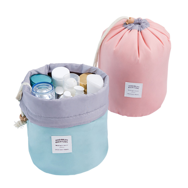 Fashion Barrel Shaped Travel Makeup Organizers Nylon Make Up Bag Drawstring Elegant Drum Wash Kit Bags Makeup Organizers