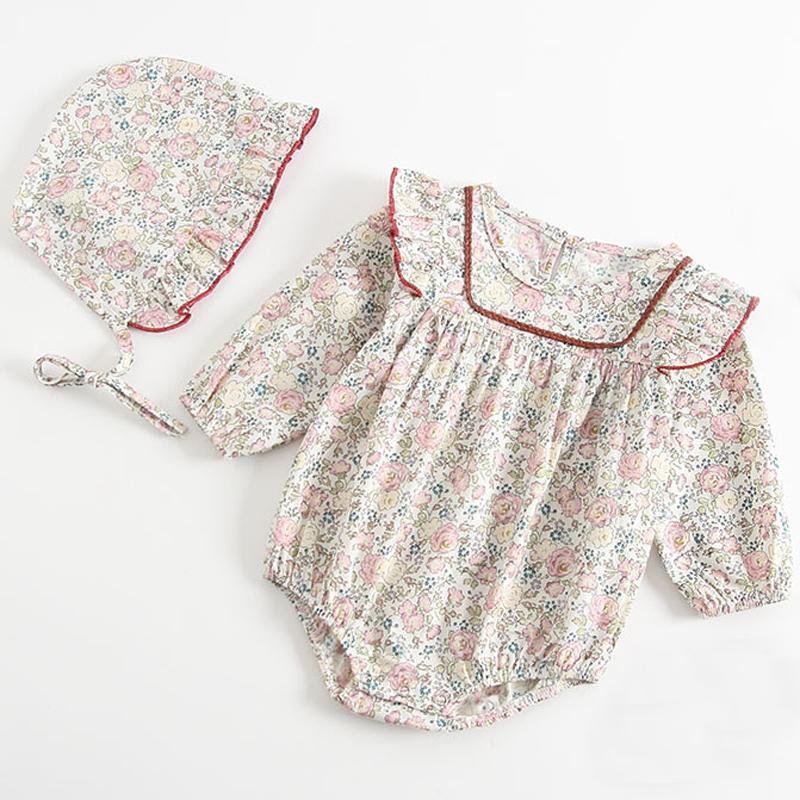 1-3Yrs Baby Lace Romper Long Sleeve Cotton Autumn Long Sleeve Fashion O-Neck Rompers +Hat Solid Floral Princess Infant Clothes