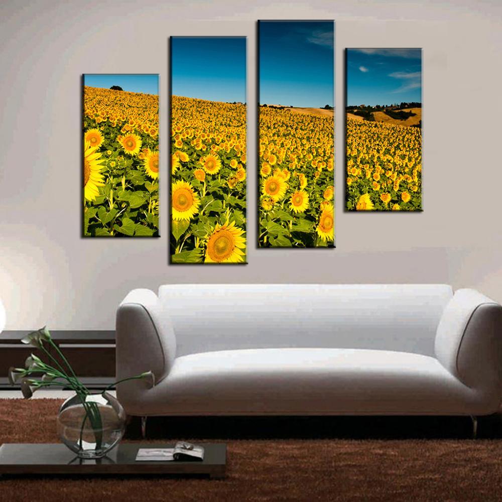 4 Pcs/Set Landscape Combined Painting The Sunflower Field Canvas ...