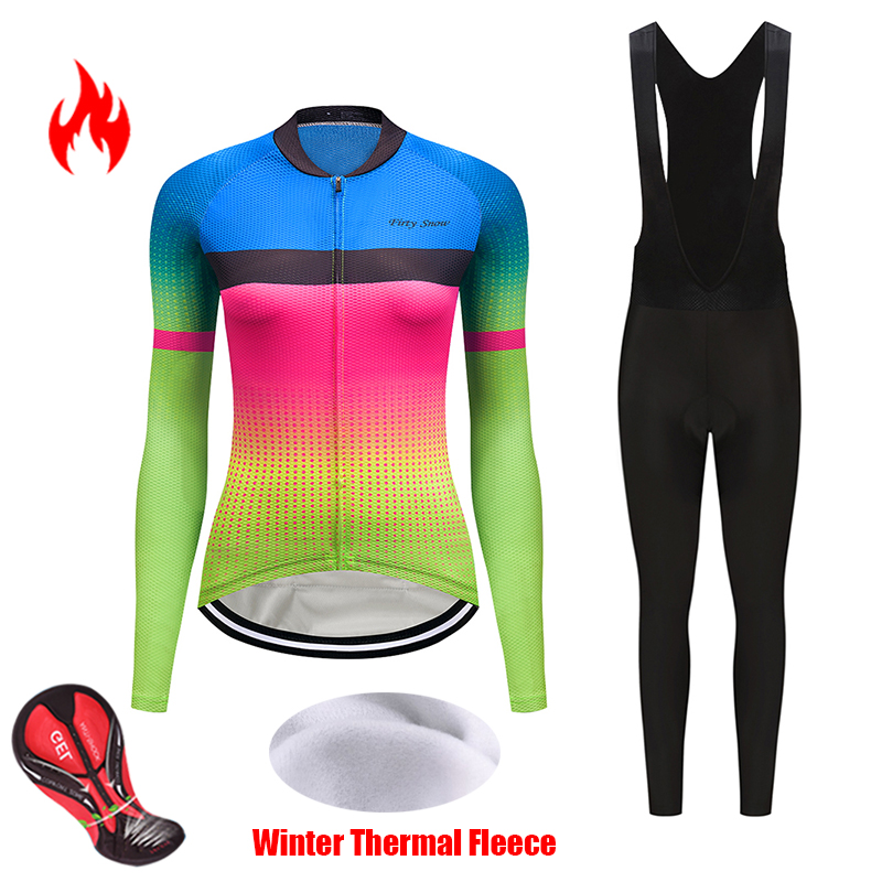 Women Winter thermal fleece cycling jersey set 2019 bicycle clothes uniform blouse skinsuit female bike clothing kit wear outfit