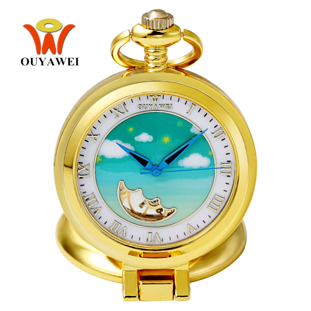 Fashion Brand OUYAWEI Mechanical Pocket Watch Men Full Steel Case Pocket Fob Watch Analog Gold White Dial Vintage Male Relogios