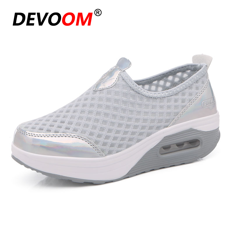 Fashion Summer Woman Sequin Wedges Shoes For Women Mesh+Air Cushion+Height Increasing Soft Shake Sole Good For Feet Big Size 42