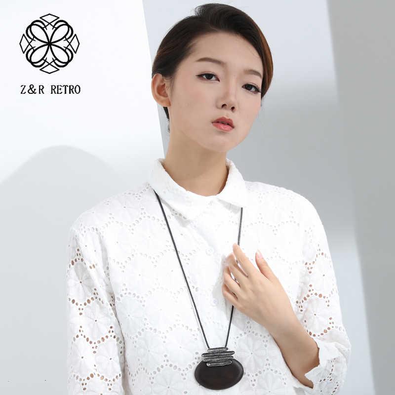 2018 新白檀女性ペンダントネックレスセーターアクセサリー木製ファッションジュエリートレンディなネックレスペンダント卸売