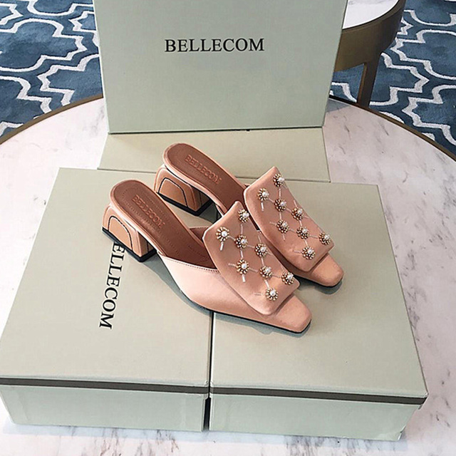 BELLECOM 2019 summer satin surface beaded flower drill drill small square head generous buckle head flat women's shoes