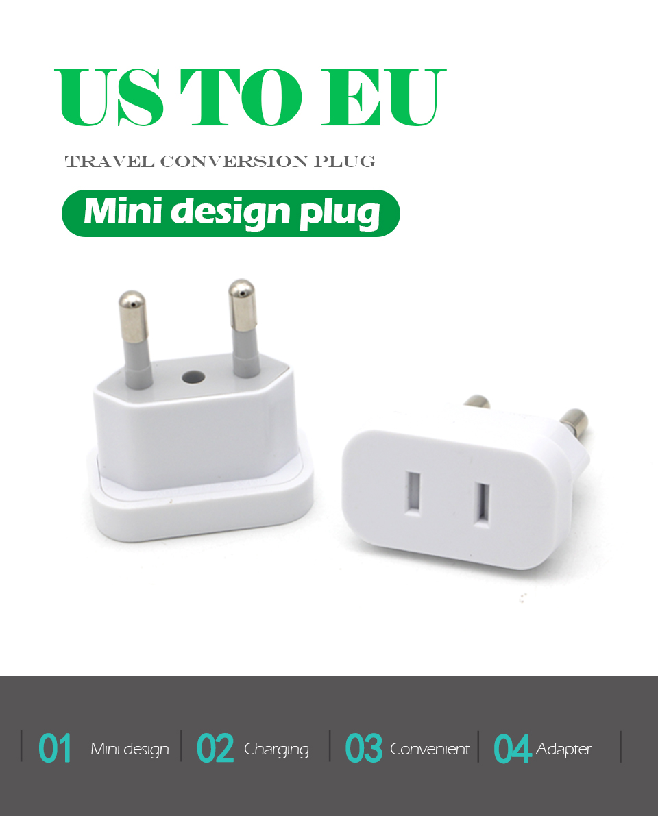 1PC US To EU Plug Safety Gate Valve Charger Outlet Adapter Converter 2 Round Pin Socket USA To Europe Travel Wall AC Power Plug (1)