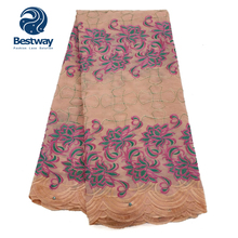 Bestway Nigerian Lace Fabric High Quality Swiss Embroidered Soft Laces Rhinestone Peach Color  Materials