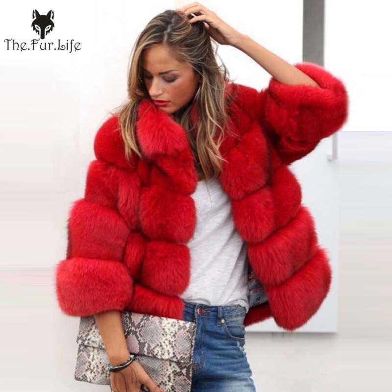 2018 Nouvelle Arrivée Femmes Hiver Épais Manteau De Fourrure Véritable Fourrure De Renard Veste Haute Qualité Renard Manteau Col montant Outfit