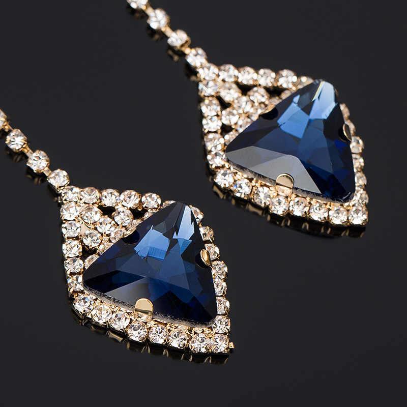 YFJEWE haute qualité luxe multicolore cristal gemme boucle d'oreille autrichien Bling dames robe formelle boucles d'oreilles cadeaux de mariage E047