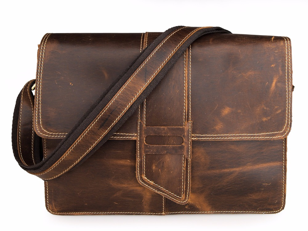 Augus Grazy Horse Cowhide Leather Messenger Bag Durable And Fashional Cross Body Bag School Bag For Young 7263B-1 j m d first layer cow leather flap bag classic and fashional messenger bag tiny cross body bag for young 7109c