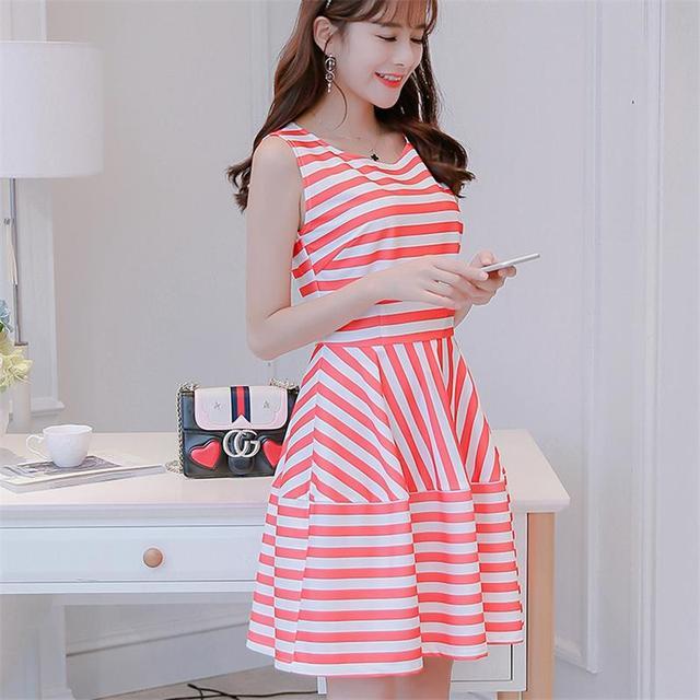 2017 Estilo Coreano de Las Mujeres Vestido de Rayas Mini Vestido de ...