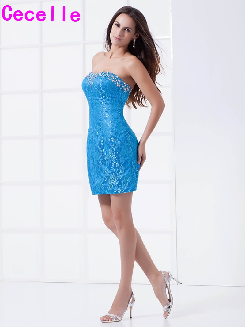 Blue lace short fitted cocktail dresses 2018 beaded sweetheart club blue lace short fitted cocktail dresses 2018 beaded sweetheart club dresses tight holiday party dresses for girls custom made in cocktail dresses from ombrellifo Gallery