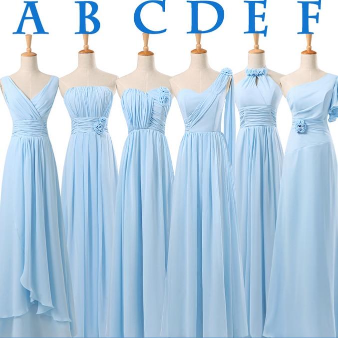 light sky blue long bride maids lace up back chiffon bridesmaid ...