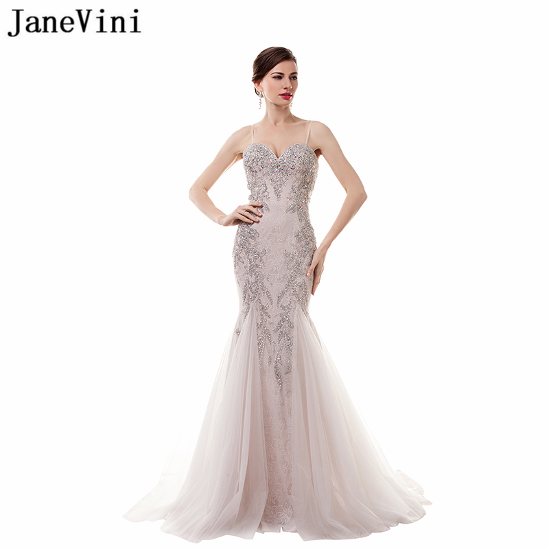 JaneVini 2018 Sexy Mermaid   Bridesmaid     Dresses   Sweep Train Spaghetti Straps Crystal Beads Backless Lace Long Prom Gowns Damigelle