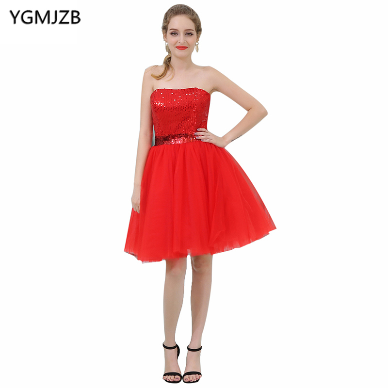 Cheap Red   Cocktail     Dresses   2018 A Line Strapless Sleeveless Short Prom   Dress   Sequined Tulle Party   Dress   Vestido De Festa Curto