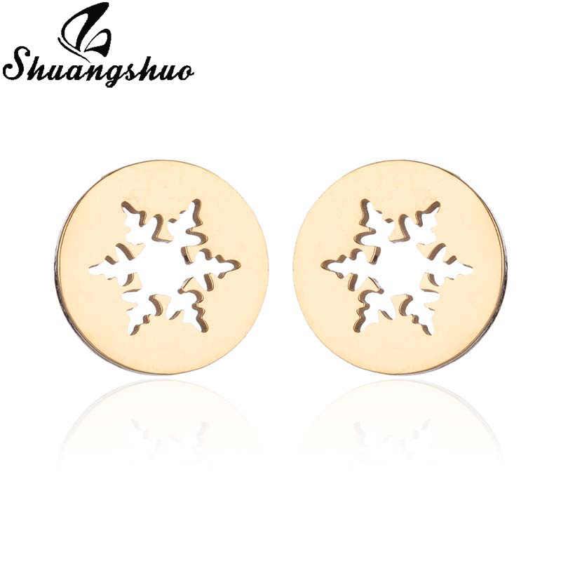 Shuangshuo Snowflake Earrings For Women Earings Ear Stud Jewelry oorbellen orecchini aretes boucle d'oreille pendientes