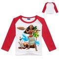 Niños Niñas T camisa Ropa Moana Imprimir Niños Ropa de Algodón de Manga Larga Camisetas Tops Niños Recién Llegados Camisetas para el Verano