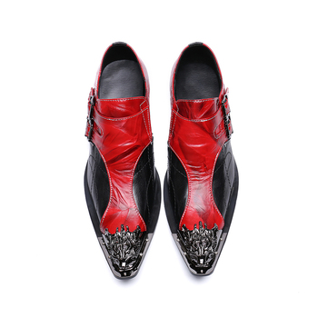 Mens Fashion red Double buckle Party Shoes Slip On Comfort Geniune Leather pointet-toe Formal Dress gold toe oxford