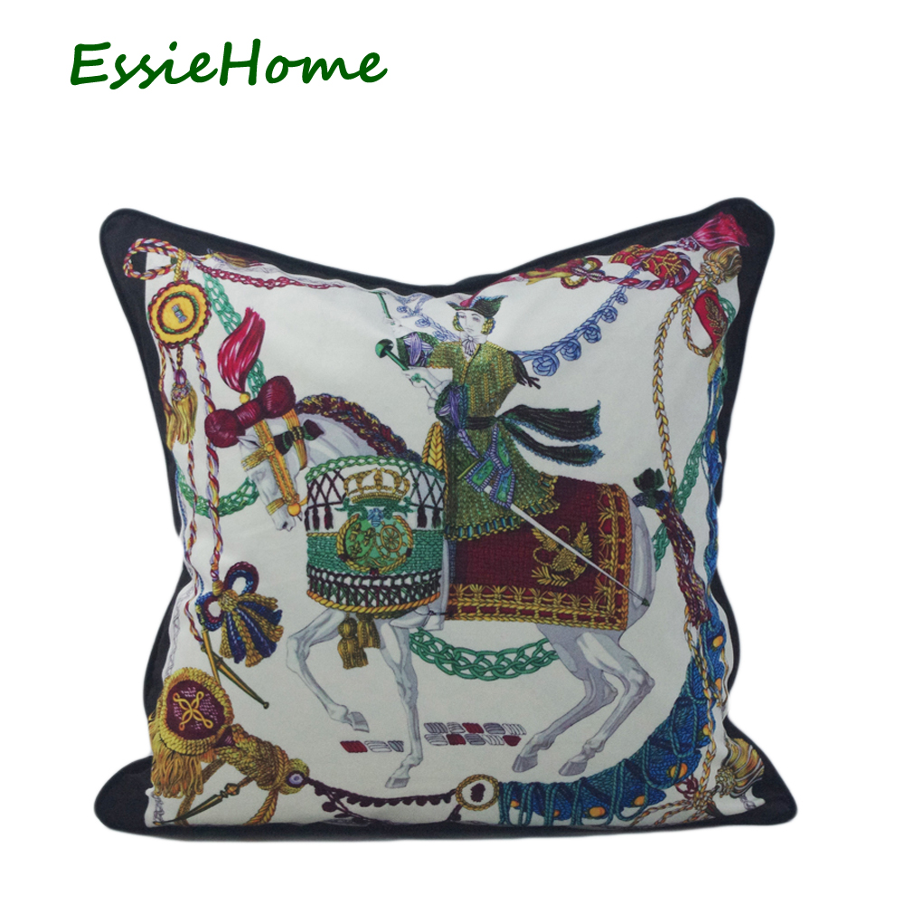 ESSIE HOME Print Velvet Pillow With Piping Blue Chain Horse Rococo Baroque Style Soft Cushion Cover Pillow Case Home Decor