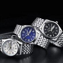 Niza Impermeable Relojes Para Hombre de Lujo Fecha Día Reloj de Acero Inoxidable de Los Hombres de Negocios Reloj de Cuarzo Reloj de Pulsera
