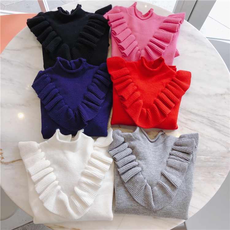 Girls sweaters solid black navy gray white color turtleneck ruffles sleeve soft baby girls sweaters pink solid color off shoulder crop bodycon sweaters vests