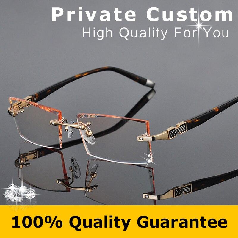 39ef8ab262 High Clear Lenses Colored Reading Glasses Optical Eyeglasses Men Rimless  Frame Brand Hyperopia Eye Glasses Myopia Original 613