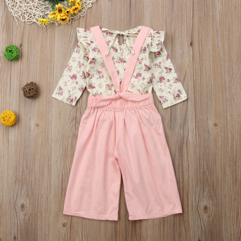2PCS Toddler Kids Baby Girl Winter Clothes Floral Tops+Pants Overall Outfits sweet girl clothes set 11