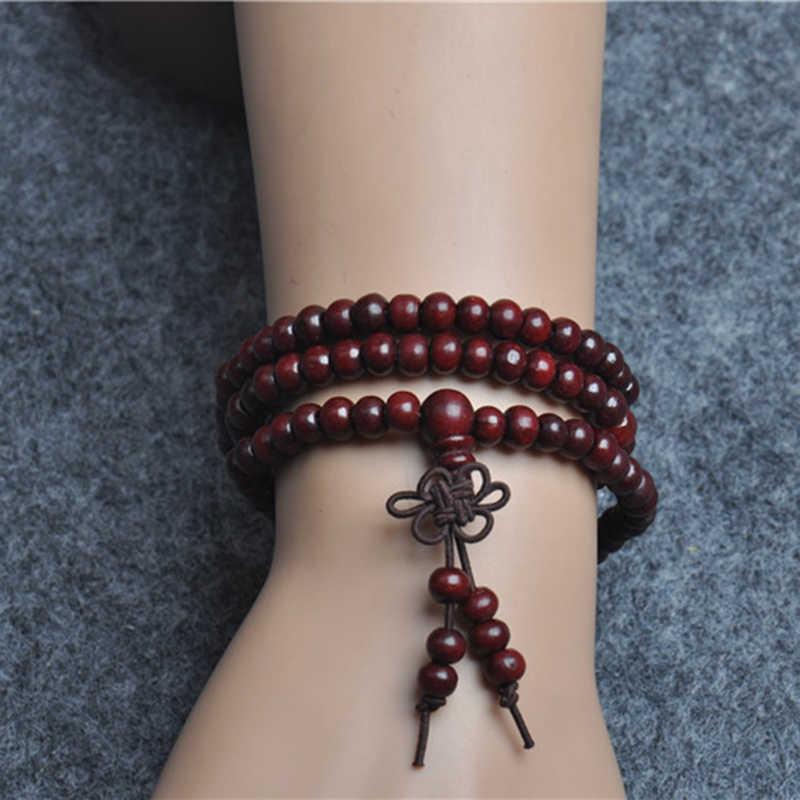 Z prawdziwego drzewa sandałowego buddyjski budda koraliki medytacyjne bransoletki dla kobiet mężczyzn biżuteria sznur modlitewny Mala bransoletka-różaniec