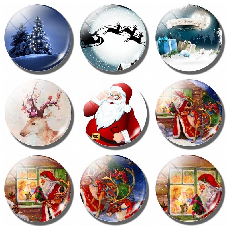 Лось и Санта-Клаус, стеклянные магниты на холодильник, 30 мм, Мультяшные наклейки на холодильник с оленем, строительный подарок на Рождество
