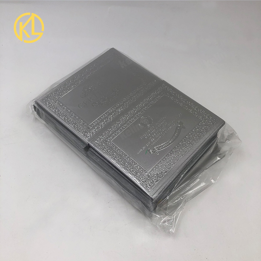 Free Shipping 100pcs lot Plastic Material Full Silver or gold Color Plated Certificate for Zimbabwe banknote