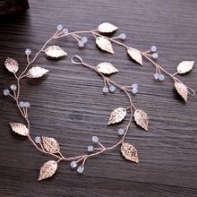 Bride Headband Rose Golden Leaves Jewelry Women Wedding Hair Band Handmade Decor