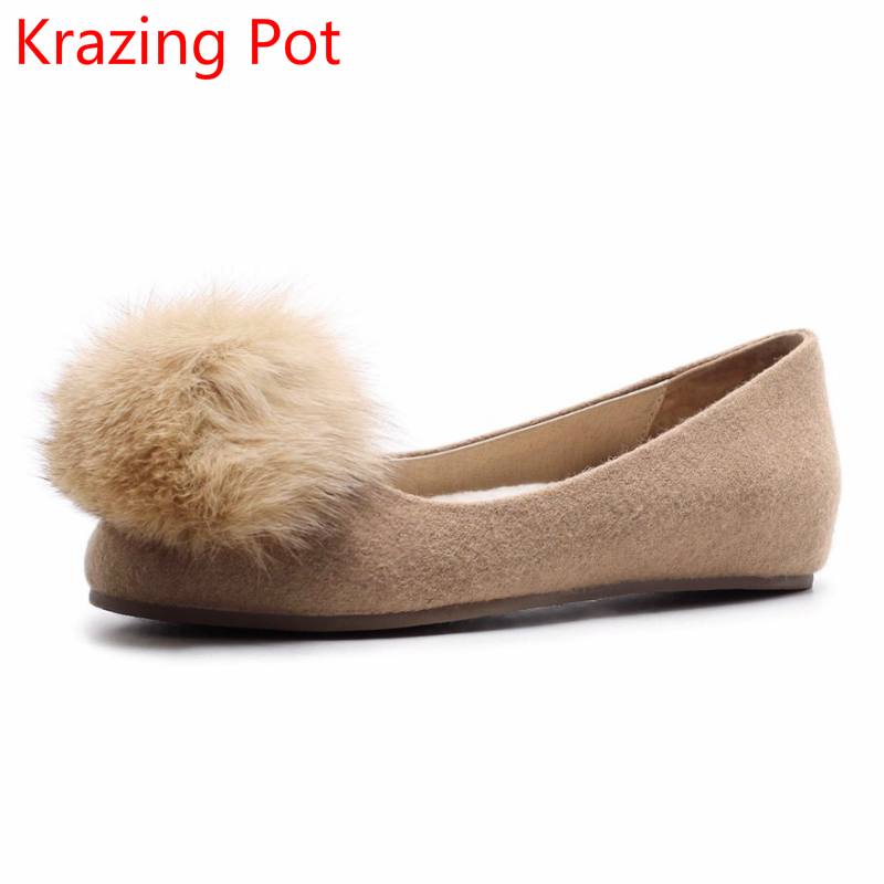 Фотография 2018 Superstar Sheep Fur Round Toe Ball Fashion Shallow Casual Shoes Flats Sweet Cute Runway Handmade Women Driving Shoes L26