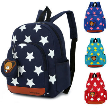 2020 Children Character Backpack Rucksack School Bag Personalised Star Pattern Zipper Kid Book 4 Colors New
