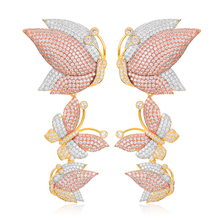 GODKI יוקרה פרפר ארוך להתנדנד עגילים לנשים חתונה מעוקב זירקון קריסטל CZ דובאי כלה עגיל תכשיטים 2019