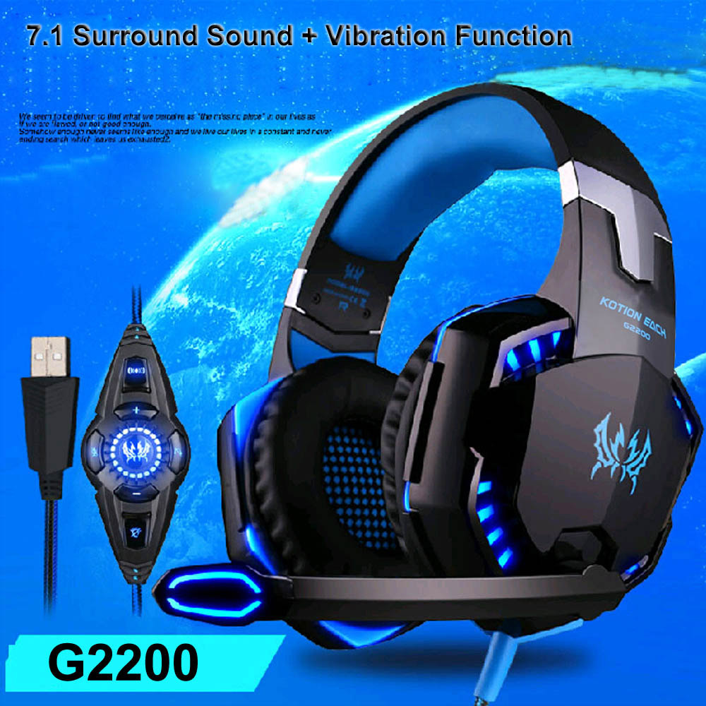 KOTION EACH stereo Surround Sound Vibration USB 7.1 Gaming Headset Headphones for Computer Headband with Microphone LED Light