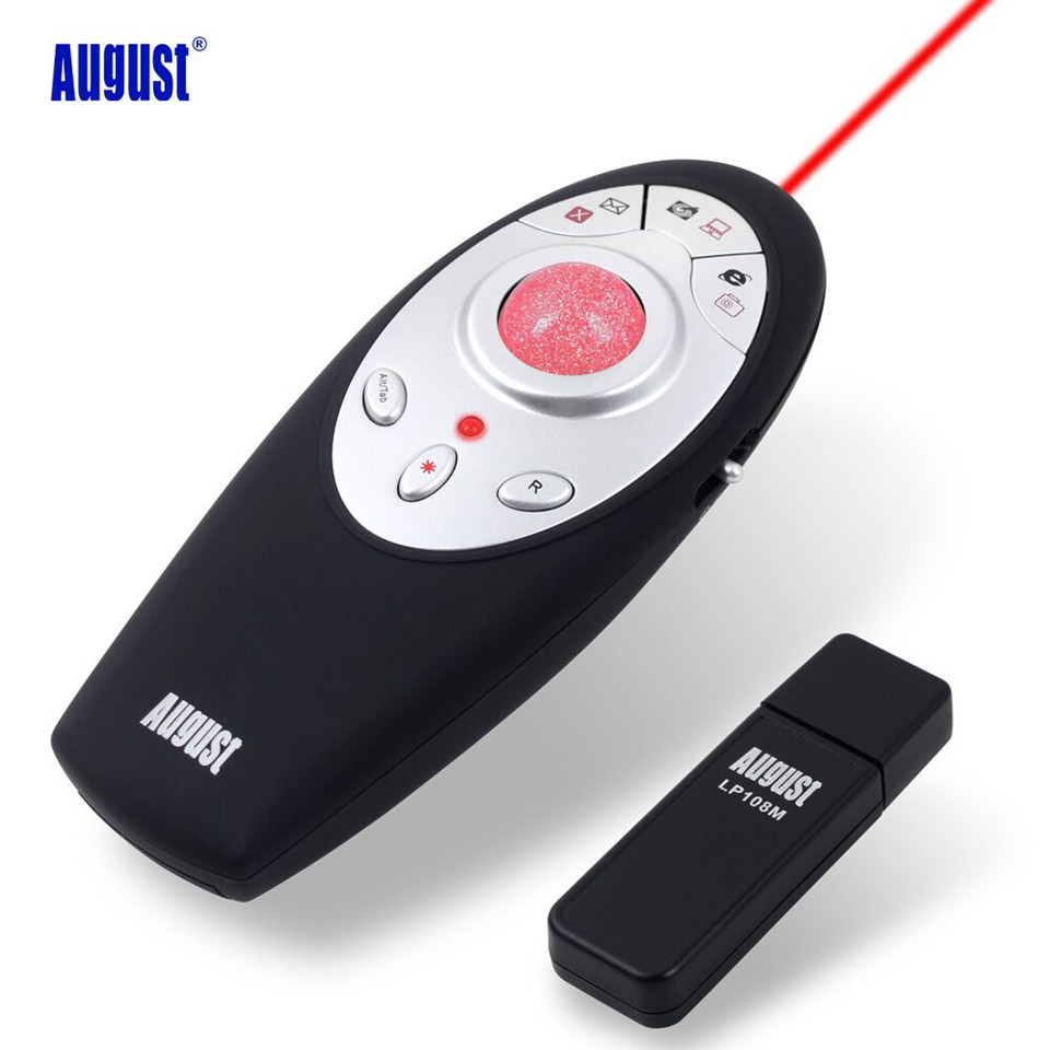August LP108M Wireless Presenter with Trackball Mouse 2.4GHz Wireless USB Powerpoint Presenter Remote Control with Laser Pointer abcnovel a180 wireless 2 4ghz remote control presenter black silver 1 x aaa