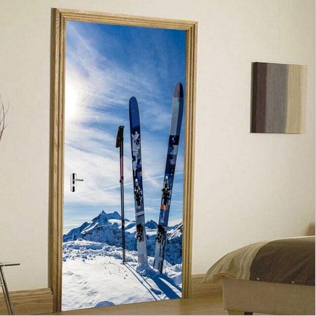 New Arrival Home Supplies Ski Board Decorative Sitting Room Living Doors  Decor Wall Sticker Creative Art