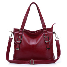 New style  Leisure women shoulder bag  Large capacity  All-match  solid color genuine leather handbag