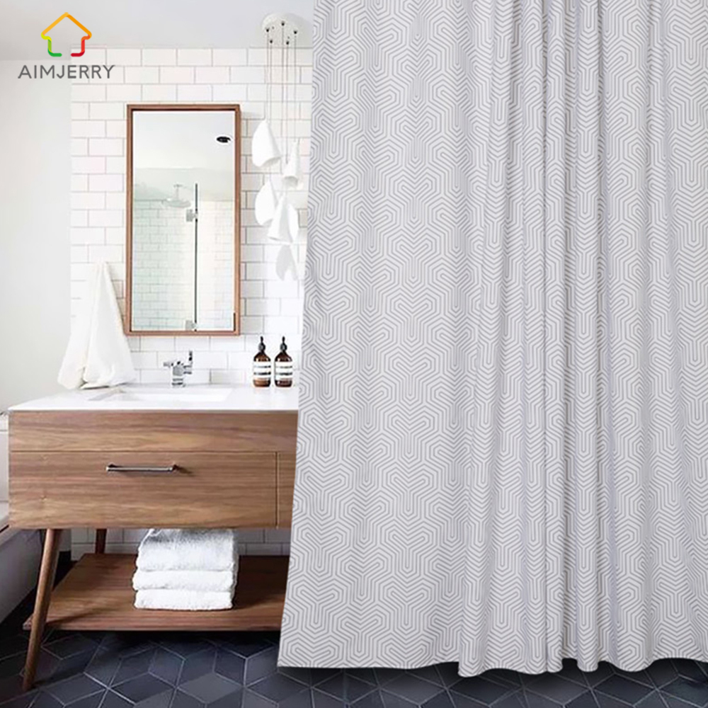 Aimjerry Bathtub Bathroom White and Black Fabric Shower Curtain with 12 Hooks 71Wx71H High Quality Waterproof and Mildewproof
