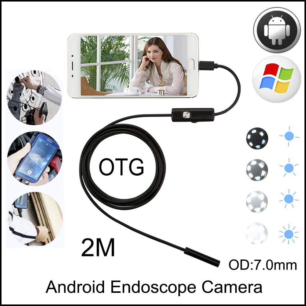 JCWHCAM 7MM 2M USB Endoscope Android Camera Snake Tube Pipe Waterproof Phone PC Endoskop Inspection Borescope Mini Camera gakaki 8mm lens wifi endoscope camera for iphone 2m snake tube usb pipe inspection endoskop borescope for android tablet pc cam