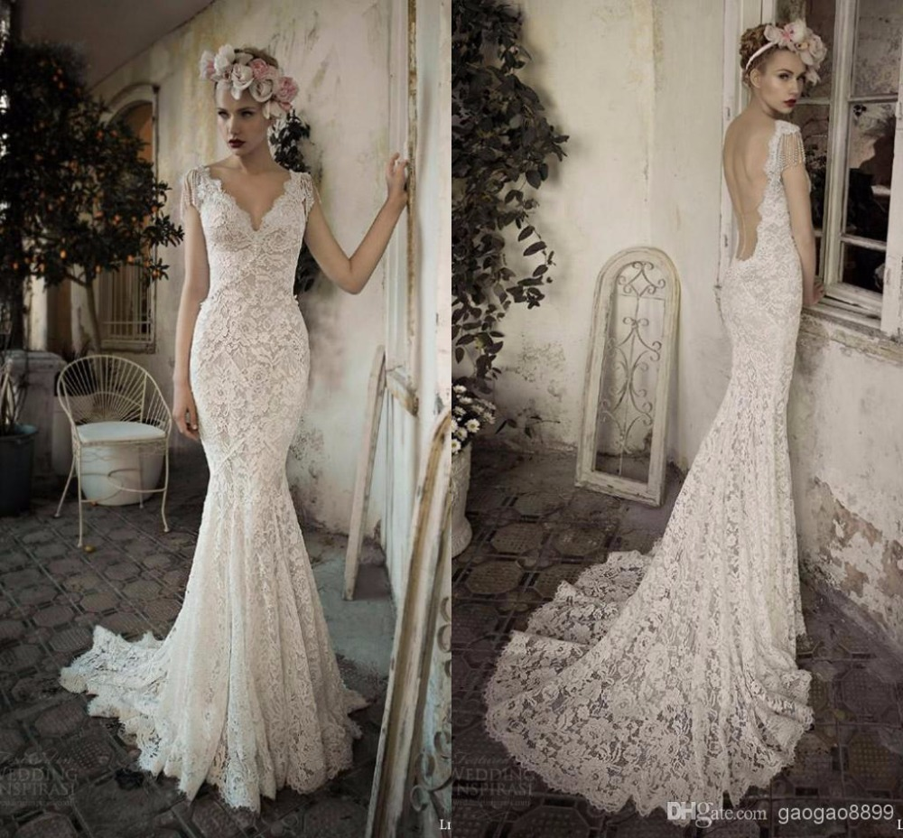 Aliexpress Buy Gorgeous Lihi Hod New Full Lace Sheath Backless Wedding Dresses V Neck Cap Sleeve Pearls Court Train Party Gowns 2015 From Reliable