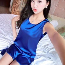 Silk Satin Women Pajama Sets Ladies Two Piece Suit Sleeveless Vest Shorts for Female 2017 Solid