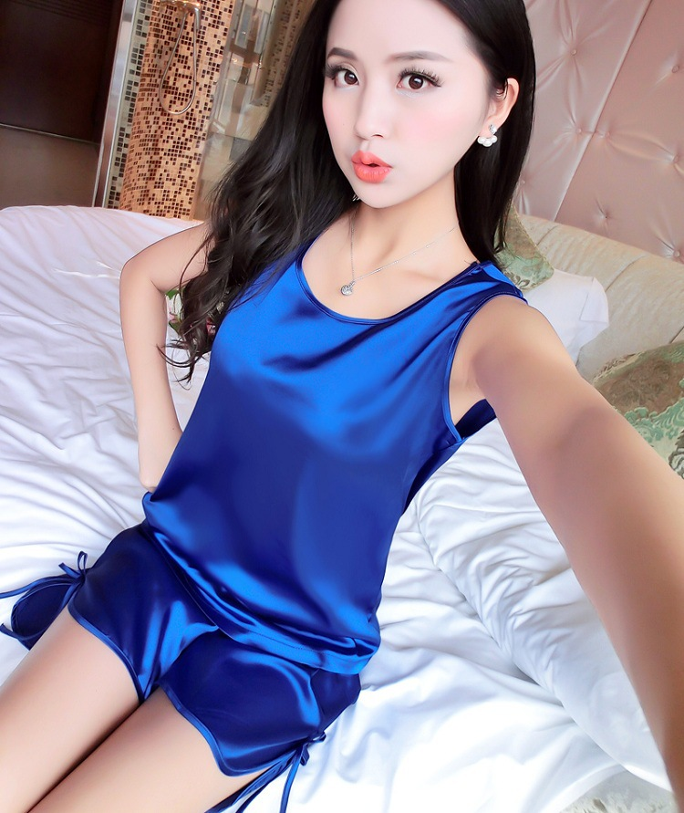 Silk Satin Women   Pajama     Sets   Ladies Two-Piece Suit Sleeveless Vest Shorts for Female 2017 Solid Round Neck Homedress