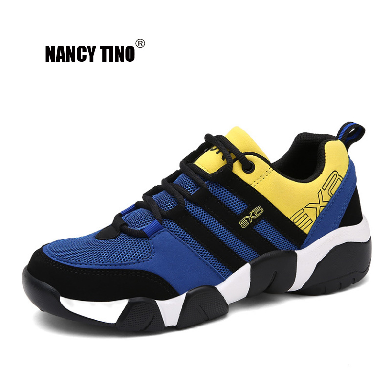 NANCY TINO Mens Running Shoes Breathable Lightweight Lace-up Sports Shoes Damping Outdoor Walking Sneakers Plus Size 38-47