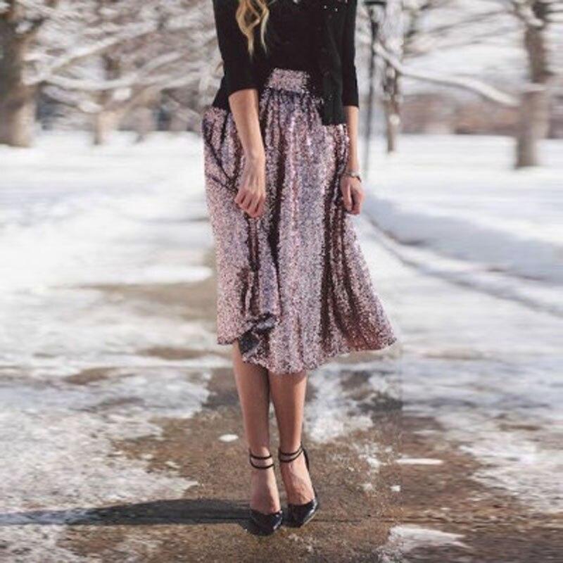 2d388e4ae Faldas de lentejuelas rosa brillante para mujer hasta la rodilla con  cremallera en la cintura Falda ...