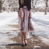 d0fc6bdd36 Shiny Rose Pink Sequins Skirts Womens Knee Length Zipper Waist Sparkly Midi  Skirt A Line Glitter