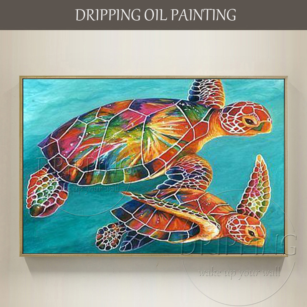 - Skilled Artist Hand Painted High Quality Sea Turtles Oil Painting